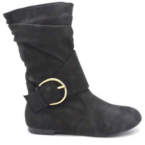 Women Ladies Faux Suede Fashion Pixie Mid Calf Height Zip Boots Flat Shoes UK Size 3-9 FM-2 Black