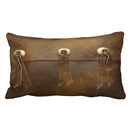 (Emvency Pillow Case Faux Leather Fringe Buckle Smoked Brown King 20x36 Inch(51x92cm) Geometric Decorative Pillowcases Throw Pillow Covers Cushion Cover Cases One Side)