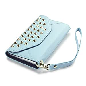 Nokia Lumia 925 Trendy Studded Rock Chic Purse Style Wallet Case - Baby Blue By Covert
