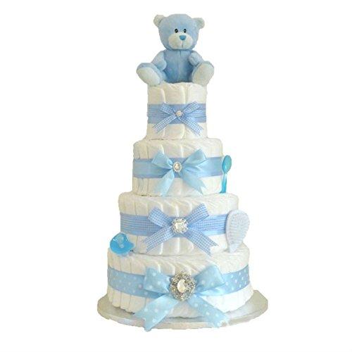 Signature Extra Large Deluxe quatre étages Bleu marine garçons couches gâteau/panier de bébé garçon Baby Shower Cadeau/cadeau de naissance idées/envoi rapide Pitter Patter Baby Gifts