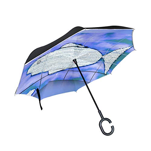 KNEVFLOW Double Layer Inverted Fish Water Sea Lake Swim Scale Animal Umbrellas Reverse Folding Umbrella Windproof Uv Protection Big Straight Umbrella for Car Rain Outdoor with C-Shaped Handle by KNEVFLOW