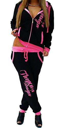 Tuta da jogging da donna con pantaloni e felpa Power, nero-rosa, 4XL (50-52) fällt normal aus