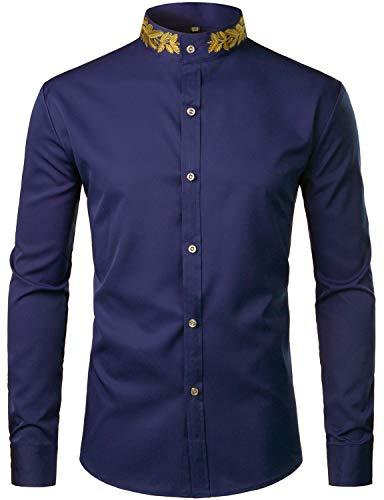 - ZEROYAA Mens Hipster Gold Embroidery Mandarin Collar Slim Fit Long Sleeve Casual Dress Shirts Z52 Navy Medium