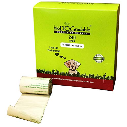 240 Dog Poop Waste Bags - Biodegradable Compostable Leak Proof and Tear Resistant - Vegetable Based Environmentally Friendly Pet Waste Bag - Plastic-Free - Holds Up to 4 Pounds