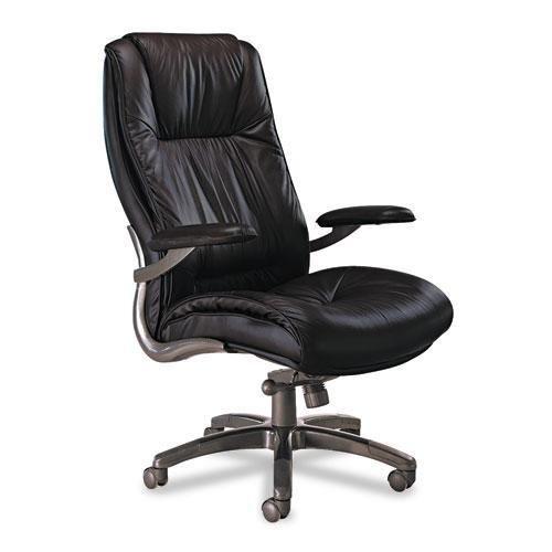 Mayline ULEXBLK Leather Seating Series High-Back Swivel/Tilt Chair, Black Leather