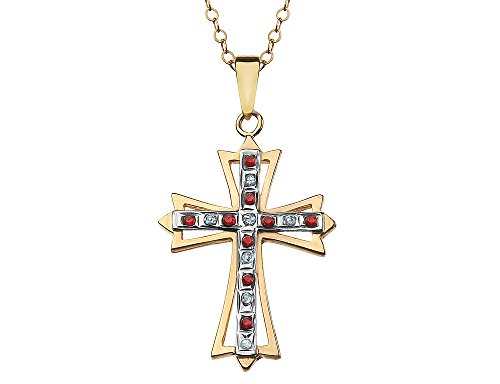 Red Ruby Cross Pendant Necklace in Sterling Silver and 14K Yellow Gold -