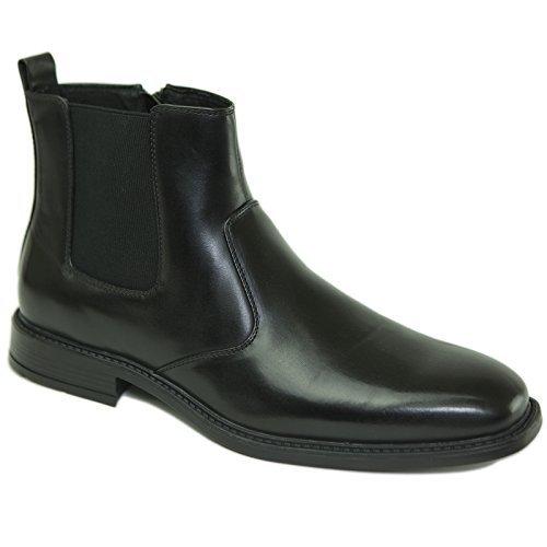 Alpine Swiss Nyon Men's Chelsea Boots Easy Slip on Zipper BLK US 7
