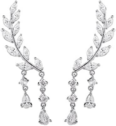 megko CZ Vine Jewelry Sweep Wrap Crystal Tassel Leaf Ear Cuffs Set Stud Earrings for Women (silver)
