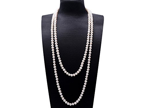 JYX Classic Near-round White Cultured Freshwater Pearl Sweater Necklace - Round Semi Pearls White