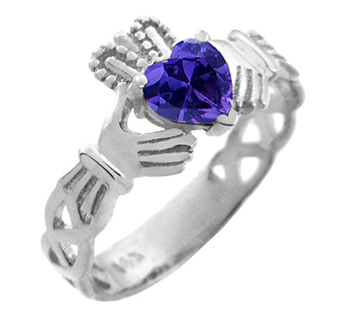 10k White Gold Created Purple CZ Heart February Birthstone Claddagh Ring by Claddagh Rings (Image #3)