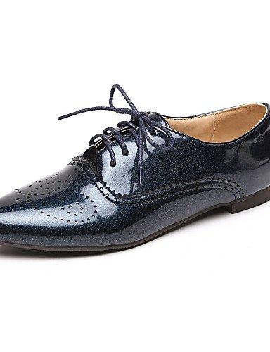 eu36 black Zapatos Puntiagudos eu36 uk4 black uk3 de Blanco Vestido 5 cn35 Oxfords 5 us5 blue ZQ Semicuero cn36 us6 us6 Tacones eu36 Azul cn36 Tacón Negro uk4 Robusto mujer OAqpAadZF