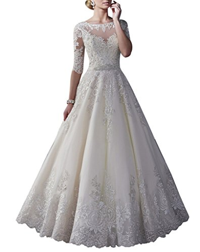 Happyus Sexy Half Sleeve Lace A Line Wedding Dresses Womens Evening Prom Gowns