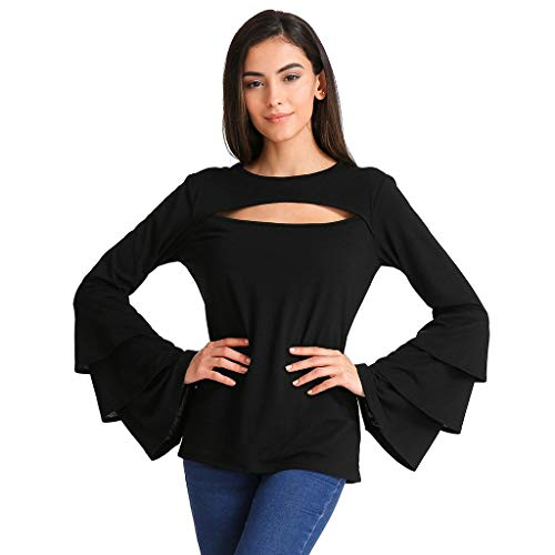 ANJUNIE Women Long Bell Sleeve O Neck T-Shirt Tops Ruffle Sleeve Solid Color Blouse (Black,M) -