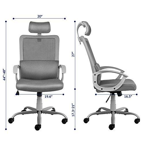 Ergonomic Office Chair Adjustable Headrest Mesh Office Chair Office Desk Chair Computer Task Chair (Light Gray) by Smugdesk        (Image #1)