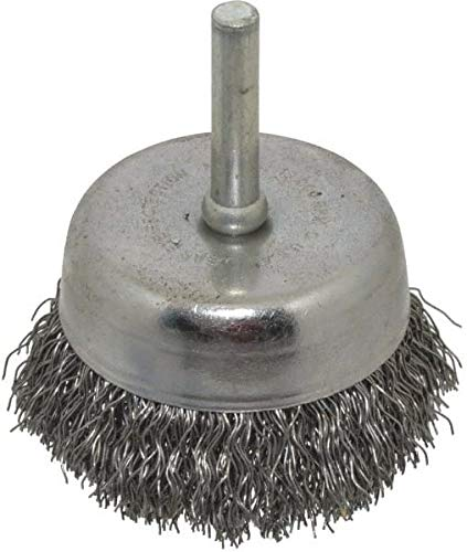 Made in USA - 1/4'' Shank Crimped Wire Steel Cup Brush - 0.014'' Filament Diam, 5/8'' Trim Length, 13,000 Max RPM (20 Pack)
