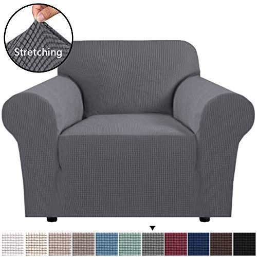 """H.VERSAILTEX Stretch Chair Slipcover Sofa Cover Furniture Protector Cover Luxury Lycra High Spandex Small Checks Knitted Jacquard Sofa Cover Chair Covers for Living Room (Armchair 32""""-48"""", Gray)"""
