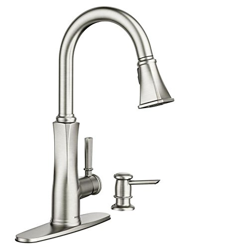 Lizzy Spot Resist Stainless 1-Handle Deck Mount Pull-Down Kitchen Faucet (Moen Deck Mount)