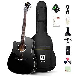 Vangoa Left Handed Guitar 6 String 41 inch Polish Black Full Size Guitar Left Hand for Beginner
