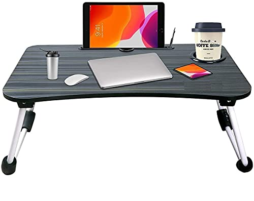 Trade Zone Laptop Bed Tray Table, Laptop Stand, Portable Lap Desks with Foldable Legs, Notebook Standing Breakfast Reading Desk for Sofa Couch Floor (Black)