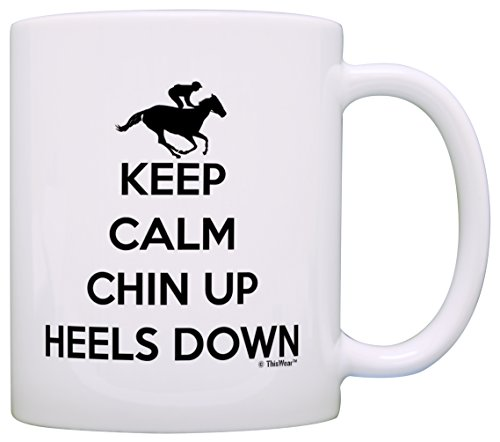 Horse Gifts for Horse Lovers Keep Calm Chin Up Heels Down Gift Coffee Mug Tea Cup White