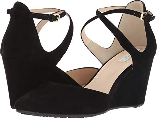 Cole Haan Women's Lacey Wedge Ankle Strap 75mm Black Suede 8.5 B US