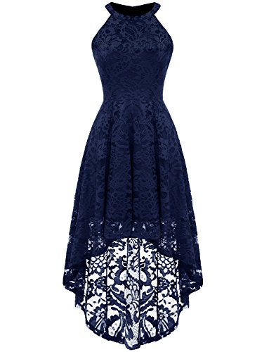 (Dressystar 0028 Halter Floral Lace Cocktail Party Dress Hi-Lo Bridesmaid Dress S Navy)