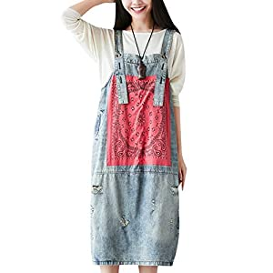 Zoulee Women Jeans Overalls Jumpsuits Denim Dress Holed Print 100% Cotton Casual Loose Fit