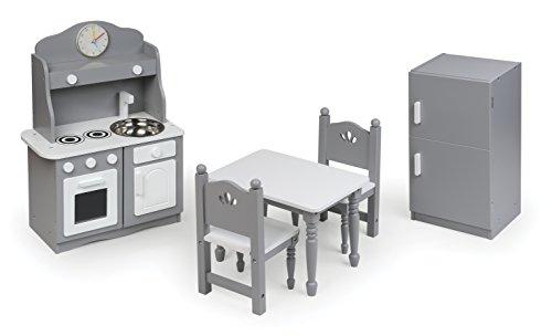 Badger Basket 5 Piece Kitchen Furniture Play Set for 18 Inch (fits American Girl Dolls), Gray/White (Kitchen Baskets Furniture)