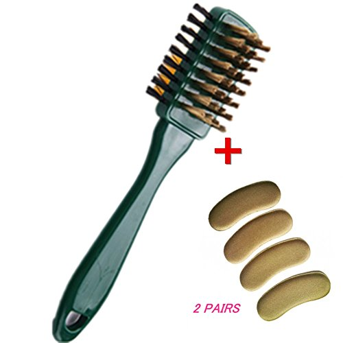 Stevenynn Suede 3 Ways Leather Cleaning Brush+2Pairs Heel Shoe Insert Pad - Cleans & Restores Leather to New Look & Feel