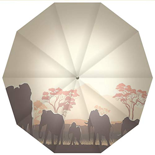 Sun umbrella, umbrellaUV Protection Auto Open Close Africa,African Wildlife Safari Big Animal Elephants in Forest with Lake Nature Windproof - Waterproof - Men - Women -Lightweight- 45 inches