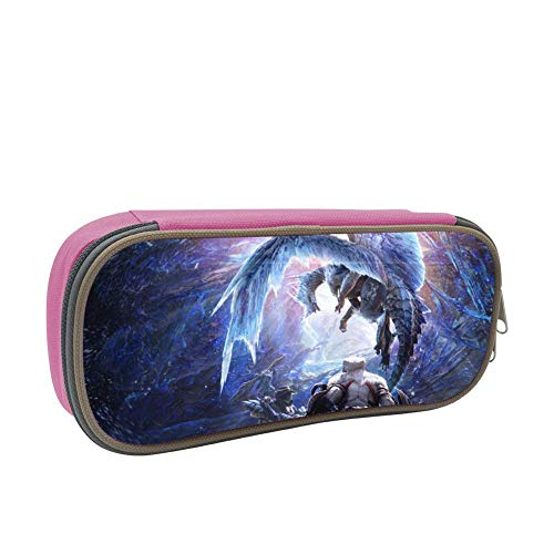 123zoehome Blue Ice Dragon Pencil Case Big Capacity Pen Holder Custom School Students Stationery Double Zipper Durable Multipurpose Office Storage Makeup Pouch Buggy Bag Pink (Double Dragon Mobile)