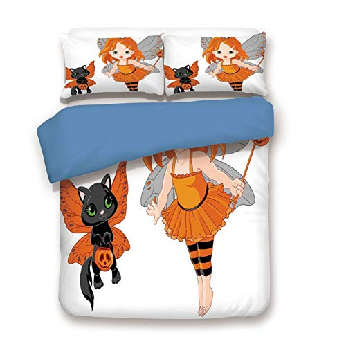 Duvet Cover Set Full Size, Decorative 3 Piece Bedding Set with 2 Pillow Shams,Halloween Baby Fairy and Her Cat in Costumes Butterflies Girls Kids Room Decor Decorative ()