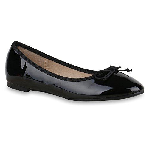 Bequeme Damen Ballerinas Flats Gesteppt Schleifen Stoffschuhe Slipper Lack Glitzer Leder-Optik Ballerina Schuhe Flandell Lack Schwarz