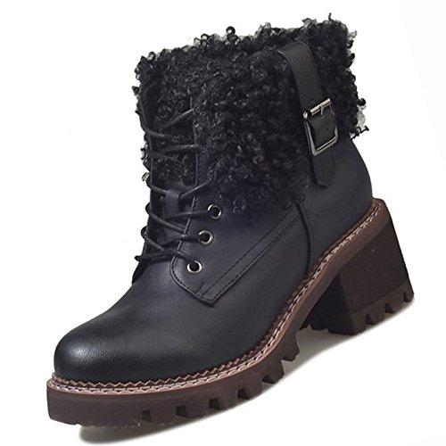 ZHZNVX HSXZ Damenschuhe PU Winter Combat Stiefel Blockabsatz Blockabsatz Stiefel Runder Mid-Calf Stiefel für Casual Schwarz Khaki Khaki 99cad4