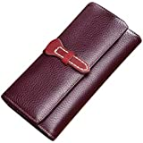 KIMINII Wallet for Women Luxury Vegetable-tanned Leather Clutch Purse Long Ladies Credit Card Holder Organizer 6633(Purple#1)