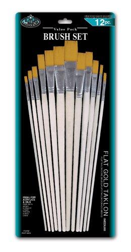 Flat Taklon Brush Set 12 Piece Set Color: Gold (Taklon Flat Brush)