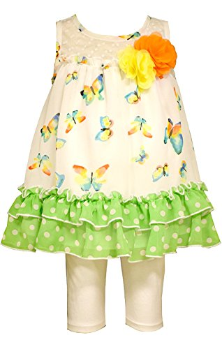 Bonnie Jean Little Girls Green Butterfly Capri Set 4T