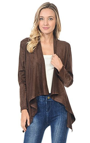- Zoozie LA Women's Suede Open Front Flyaway Jacket Cardigan Chocolate Brown Small
