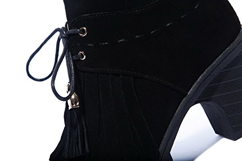 Frosted Zippers Black with and Boots Heels Women's Kitten Blend Materials Allhqfashion Tassels pnw8ZqtZ