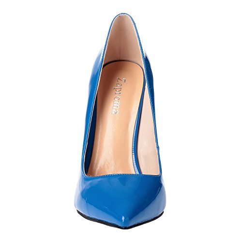 Pumps Blue Petent High Shoes Heel Women 15 US 4 for Luxury Toe Stilettos Pointed ZAPROMA Size a0qZw