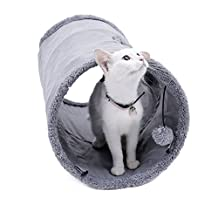 PAWZ Road Collapsible Cat Tunnel,Crinkle Kitten Play Tube for Large Cats, Dogs, Bunnies With Ball - Fun Cat Toys 2 Peep Hole Design Grey