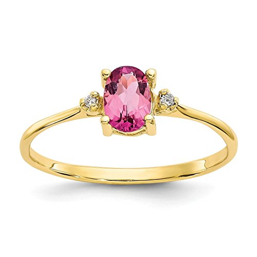 ICE CARATS 10k Yellow Gold Diamond Pink Tourmaline Birthstone Band Ring Size 6.00 Stone October Oval Style Fine Jewelry Ideal Mothers Day Gifts For Mom Women Gift Set From Heart (Ice Pink Ring Style)