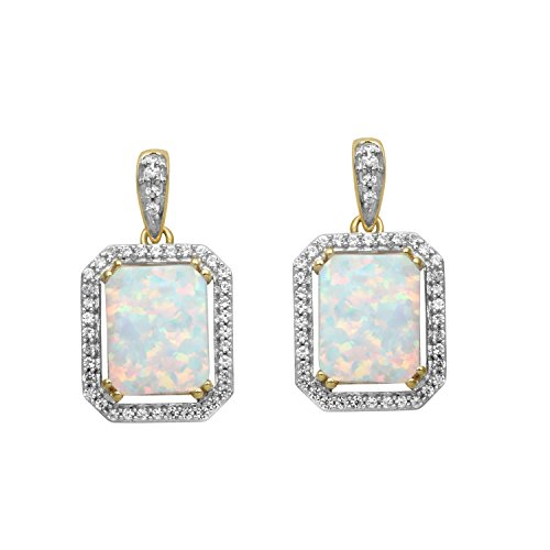 Jewelili 14K Yellow Plated Sterling Silver Created Opal Octagon With Created White Sapphire Earrings