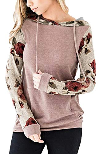- Twinklady Women's Hoodies Long Sleeve Floral Pullover Casual Sweatshirt Pockets (Pink, L)