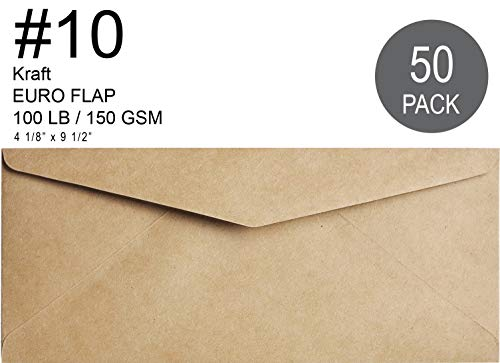 Kraft #10 Business 50 Pcs 4-1/8 x 9-1/2 Standard Flap Design Ideal for Home, Office, Check, Invoice - Windowless Design Mailing - 100 lbs