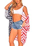 GRAPENT Women's American Flag Open Front Kimono Cardigan Beach Cover Up Casual Top Size Large US 12-14