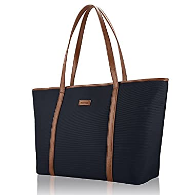 CHICECO Basic Large Travel Tote Shoulder Bag for Women - Blue + Brown