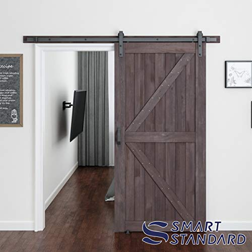 SMARTSTANDARD 42in x 84in Sliding Barn Door with 8ft Barn Door Hardware Kit & Handle, Pre-Drilled Ready to Assemble, DIY Unfinished Solid Cypress Wood Panelled Slab, K-Frame, Brown
