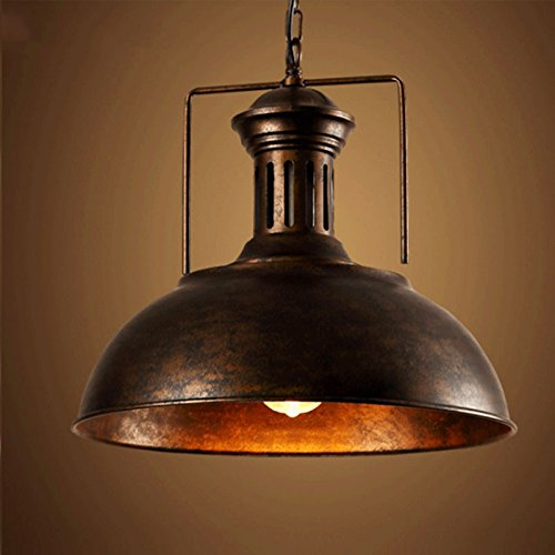 Industrial Nautical Barn Pendant Light – LITFAD 16″ Single Pendant Lamp with Rustic Dome/Bowl Shape Mounted Fixture Ceiling Light Chandelier in Copper