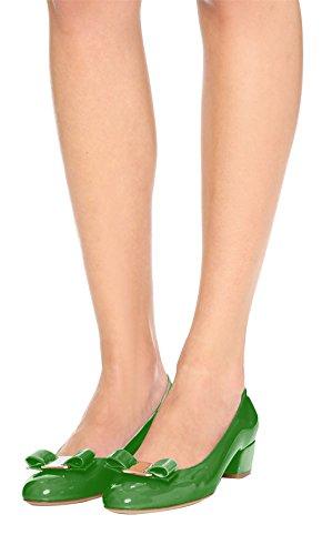mujer Mid Heels Chic Tamaño Bowknot punta On redonda Shoes Court Slip grande Block para Green SexyPrey PwRtAz1xqA